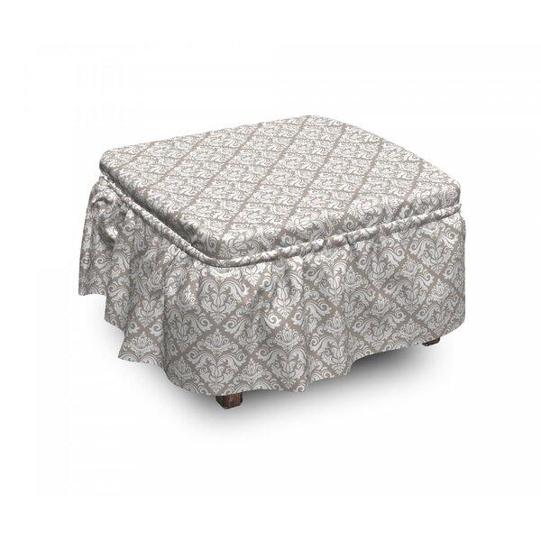 Damask Oriental Tile 2 Piece Box Cushion Ottoman Slipcover Set By East Urban Home