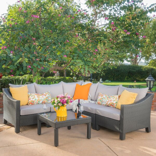 Coline 6 Piece Rattan Sectional Set with Cushions