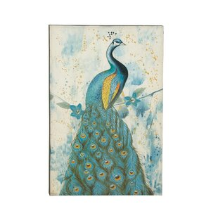 'Peacock' Painting Print on Wrapped Canvas by Cole & Grey