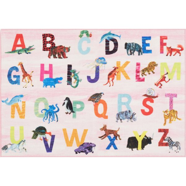 Alphabet Zoo Educational Pink Area Rug by Eric Carle