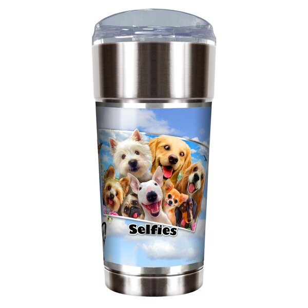 Dog Selfies 24 oz. Stainless Steel Travel Tumbler by Great American Products