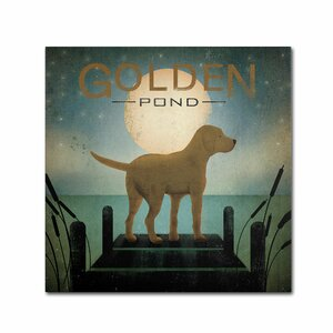 Moonrise Yellow Dog Golden Pond by Ryan Fowler Graphic Art on Wrapped Canvas by Trademark Fine Art