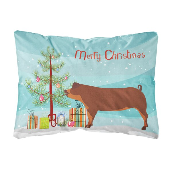 Filbert Duroc Pig Christmas Indoor/Outdoor Throw Pillow by The Holiday Aisle