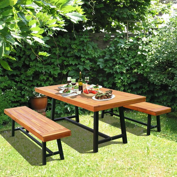 Malachi Outdoor 3 Piece Dining Set by Millwood Pines