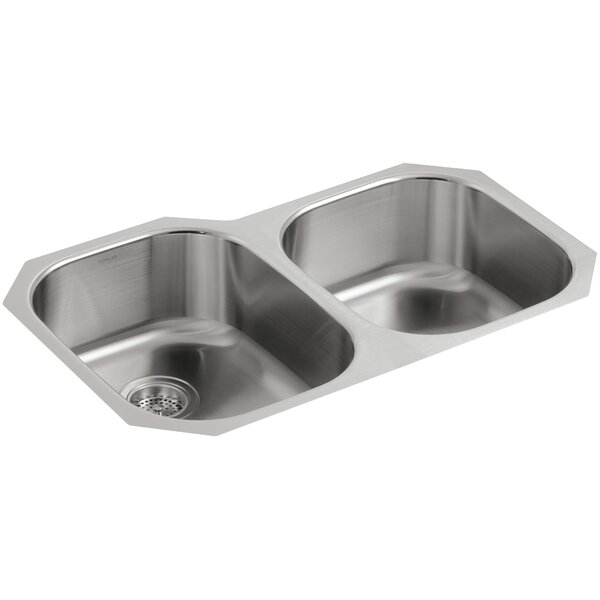 Undertone 31-1/2 L x 20-7/8 W x 7-5/8 Under-Mount Large/Medium Rounded Double-Bowl Kitchen Sink with Medium Bowl On The Right by Kohler