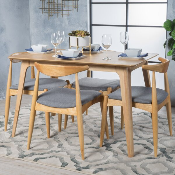 Millie 5 Piece Mid Century Wood Dining Set by Langley Street Langley Street™