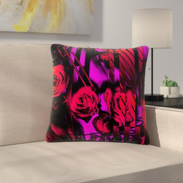 Dawid Roc Roses-Flower Geometric Outdoor Throw Pillow by East Urban Home
