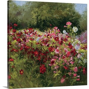 'Cosmos Garden II' by Shirley Novak Painting Print on Wrapped Canvas by Great Big Canvas