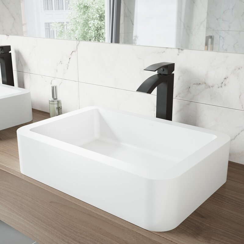 Vigo Matte Stone Rectangular Vessel Bathroom Sink With Faucet