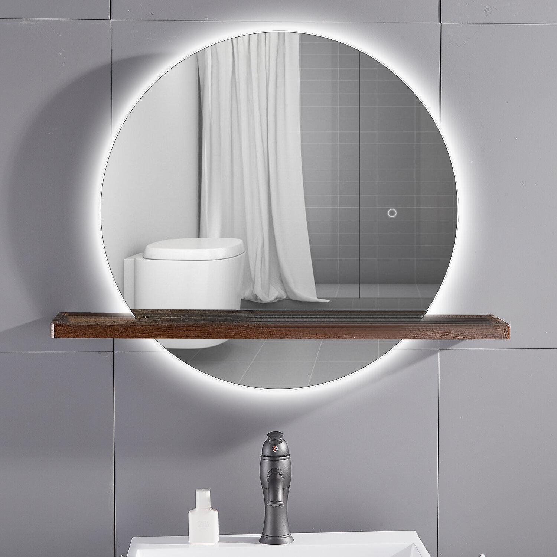 Latitude Run Modern Frameless Lighted Bathroom Mirror With Shelves