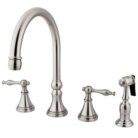 Governor Double Handle Deck Mount Kitchen Faucet with Side Spray by Kingston Brass