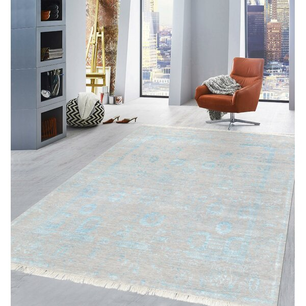 Pasargad Hand-Knotted Silk and Wool Beige/Blue Area Rug by Pasargad