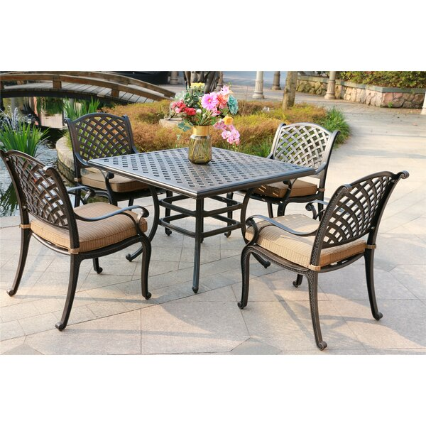 Balaton Aluminum 5 Piece Dining Set with Cushions by Canora Grey