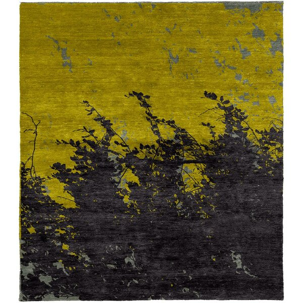 One-of-a-Kind Townes Hand-Knotted Yellow/Black 6' Square Area Rug