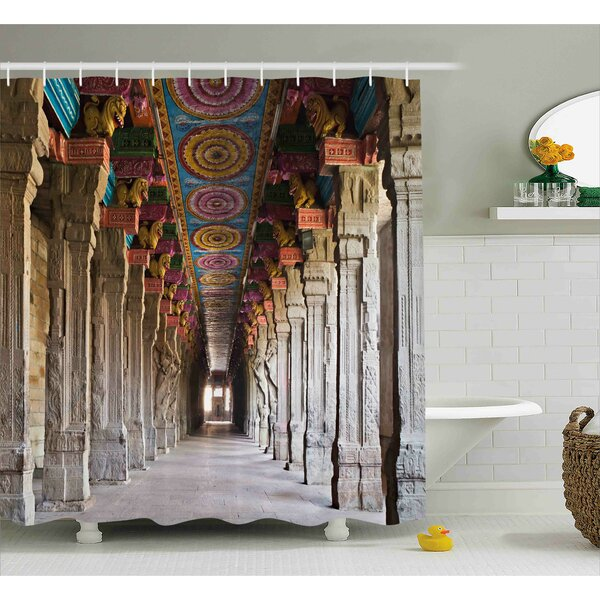 Aurora Pillar Spiritual Theme Inside of Old Meenakshi Temple Shower Curtain by Ebern Designs