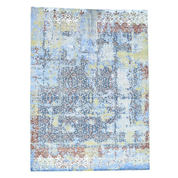 One-of-a-Kind Oidized Hand-Knotted Gray/Denime Blue Area Rug by Bloomsbury Market