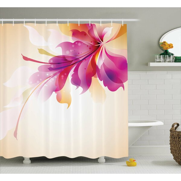 Adeline Floral Point and Leaf Shower Curtain by Ebern Designs