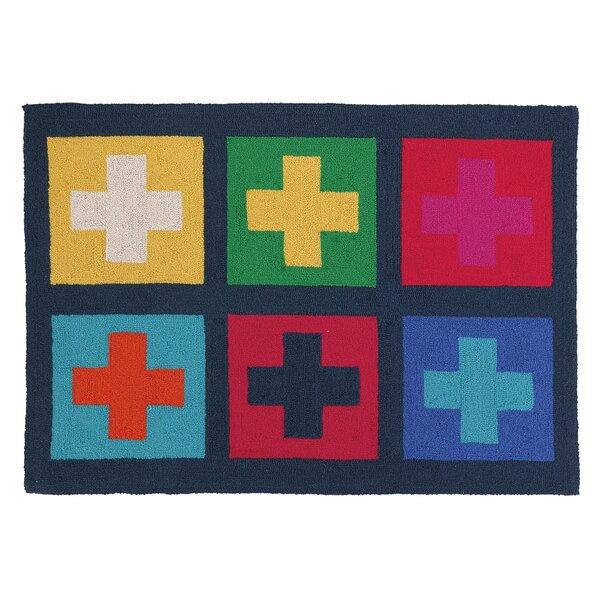 Yolanda Crosses Kids Hand-Hooked Wool Beige/Orange Area Rug by Wrought Studio