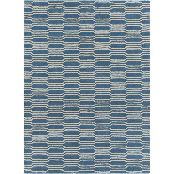 Electra Hand Tufted Rectangle Contemporary Aqua/Cream Area Rug by Mercer41