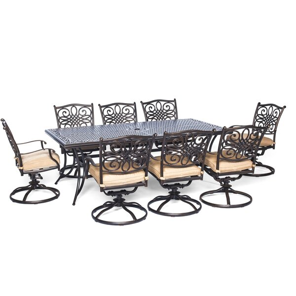 Lauritsen 9 Piece Rectangular Dining Set with Cushion by Three Posts