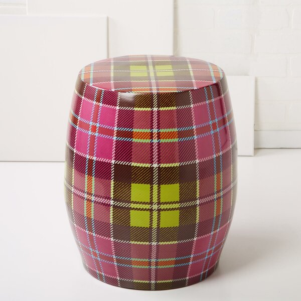 Tartan Ceramic Garden Stool by Tozai