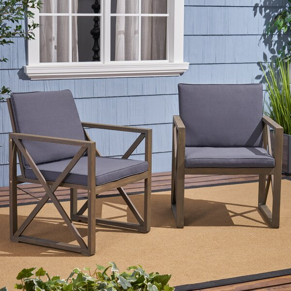 Anneke Patio Chair With Cushions (Set Of 2) By Highland Dunes by Highland Dunes No Copoun