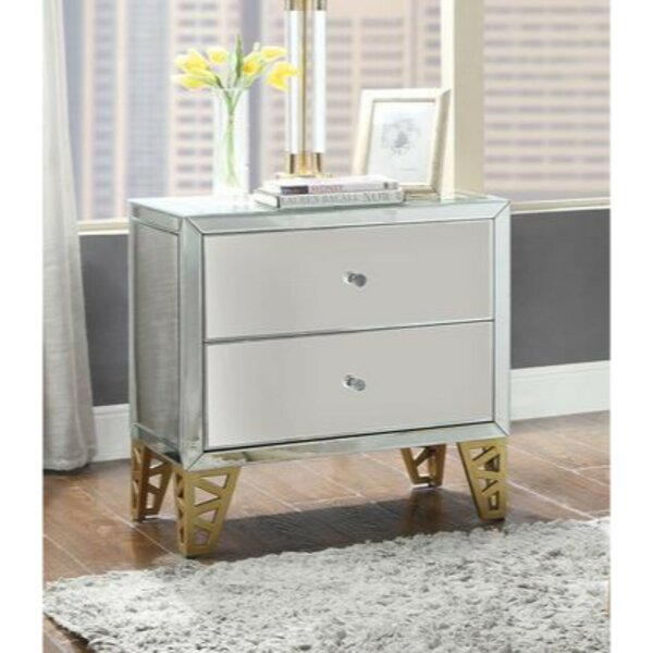 Kittie Two Drawer Wood and Metal End Table by Everly Quinn