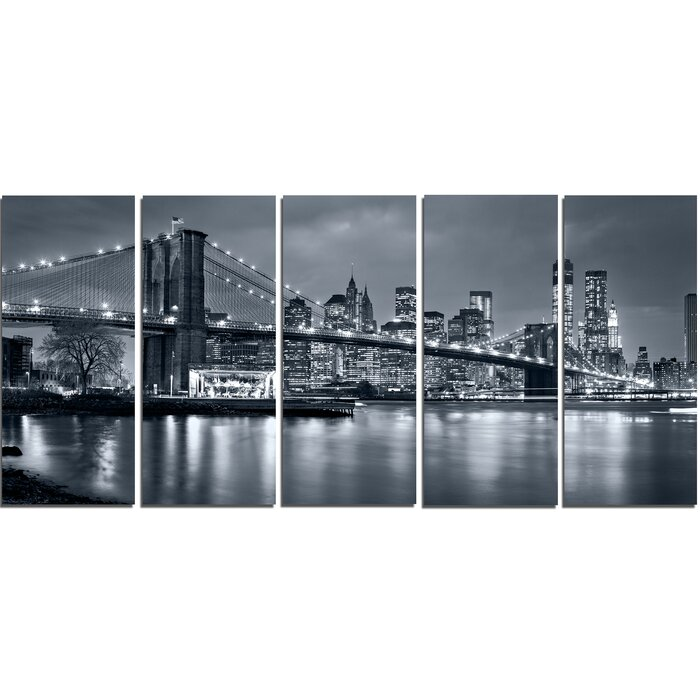 Panorama New York City At Night 5 Piece Wall Art On Wrapped Canvas Set