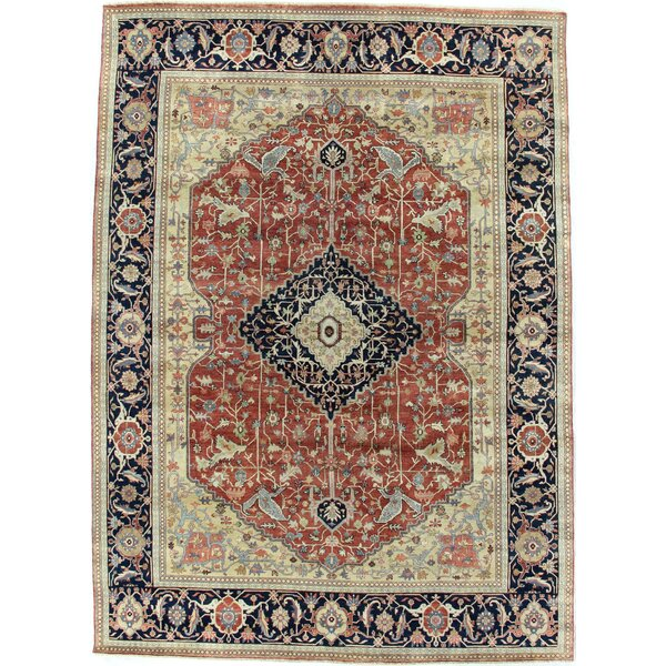 Fine Serapi Hand-Knotted Wool Red/Blue Area Rug by Exquisite Rugs