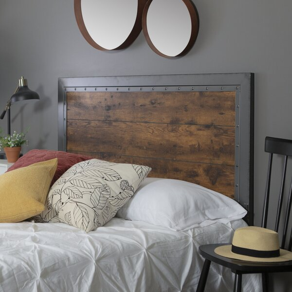 Alanha Industrial Wood and Metal Queen Panel Headboard by 17 Stories