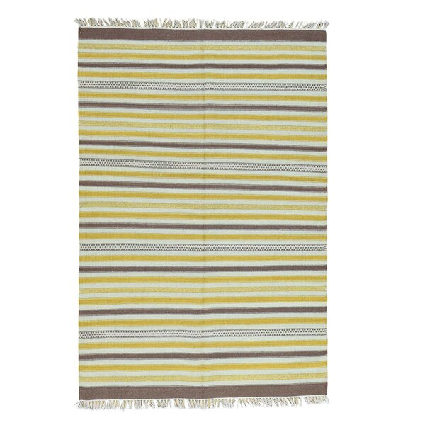 Striped Kilim Flat Weave Hand-Knotted Yellow/Blue Area Rug by Bloomsbury Market