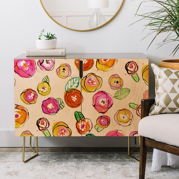 Cayenablanca Flowers Credenza by East Urban Home