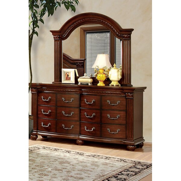 Raul 12 Drawer Double Dresser with Mirror by Fleur De Lis Living