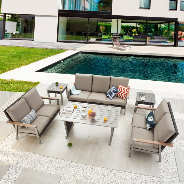 Serin 6 Piece Dining Set with Cushions by Latitude Run