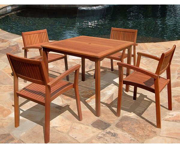 Amabel 5 Piece Outdoor Dining Set By Beachcrest Home