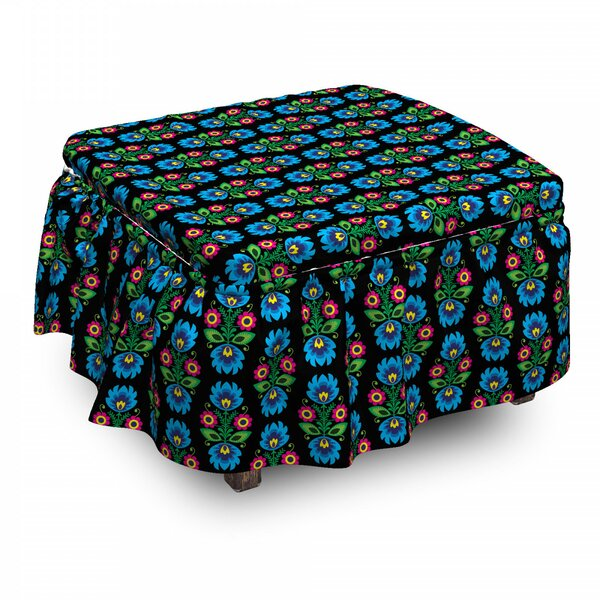 Traditional Polish Flower Ottoman Slipcover (Set Of 2) By East Urban Home