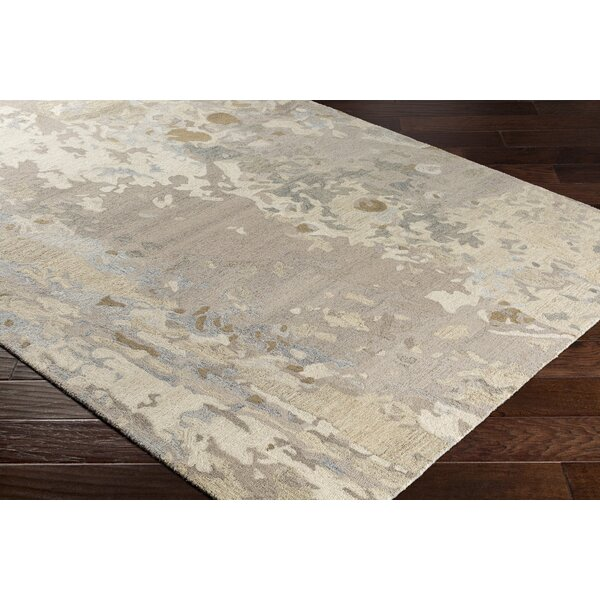 Randall Abstract Hand-Hooked Wool Taupe/Light Blue Area Rug by Bungalow Rose