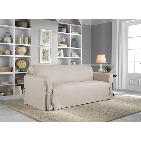 Cotton Duck Box Cushion Sofa Slipcover by Serta
