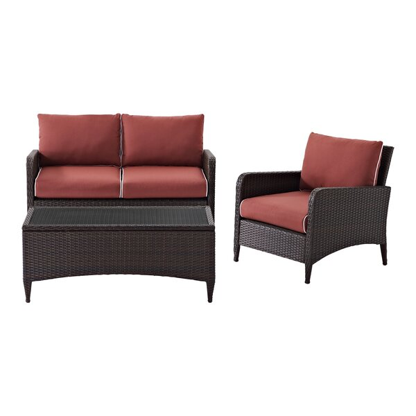Mosca 3 Piece Sofa Seating Group with Cushions by World Menagerie