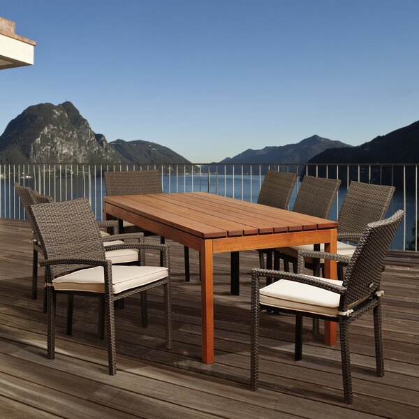 Bridgepointe Coastal Eucalyptus 9 Piece Dining Set by Rosecliff Heights