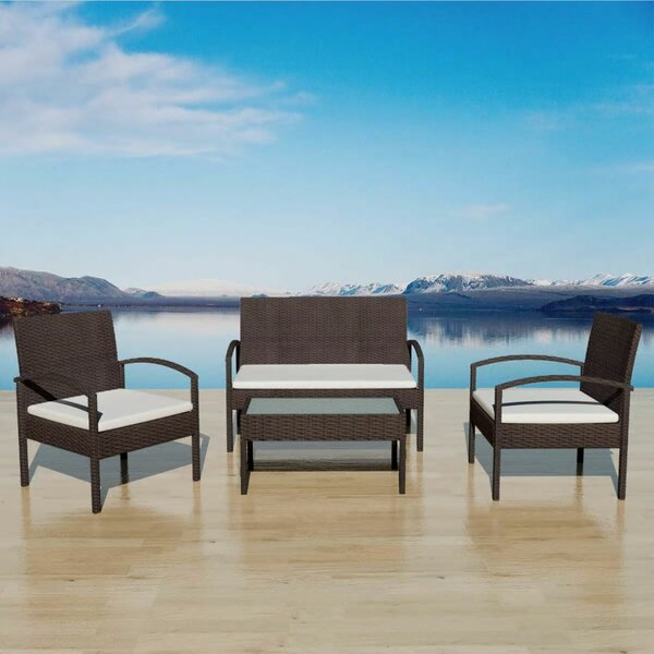 Thornbury Garden 4 Piece Sofa Seating Group with Cushions by Ivy Bronx