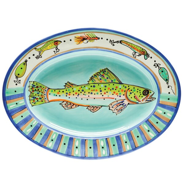 Dana Wittmann Fins Trout Handpainted Ceramic Oval Platter by Thompson and Elm