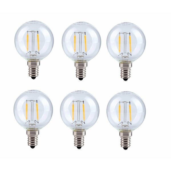 2.5W E12/Candelabra LED Vintage Filament Light Bulb (Set of 6) by Elegant Lighting