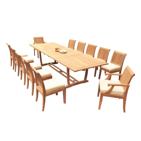 Ernberg 13 Piece Teak Dining Set by Rosecliff Heights