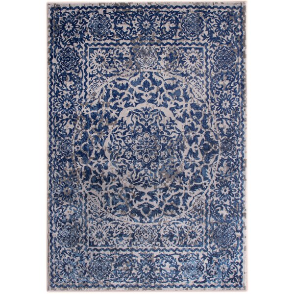 Rosie Transitional Medallion Distressed Gray/Blue Area Rug by Bungalow Rose