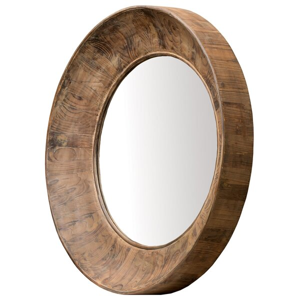 Round Brown Accent Wall Mirror by Union Rustic