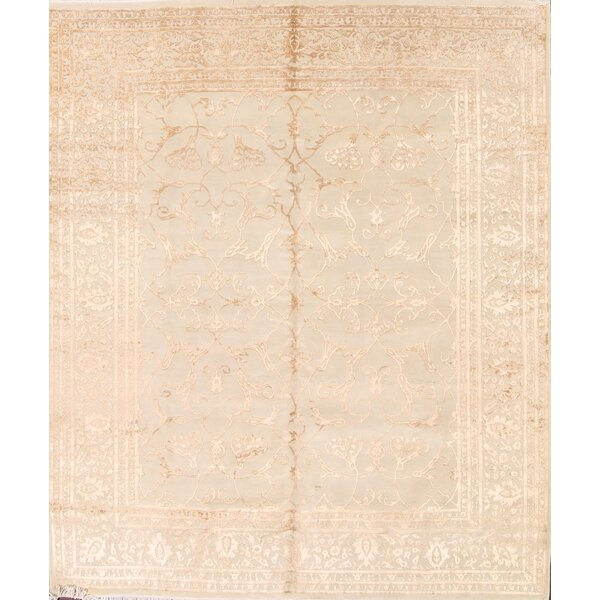 Hobbes Royal Tabriz Oriental Hand-Knotted Beige/Ivory Area Rug by Bloomsbury Market
