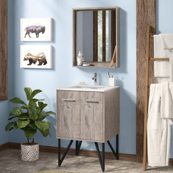 Ellison Nature Wood 24 Single Bathroom Vanity with Mirror by Union Rustic