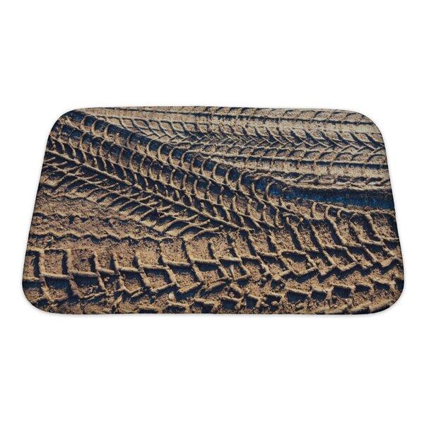 Cars Wheel Tracks on the Soil, Closeup Pattern Bath Rug by Gear New