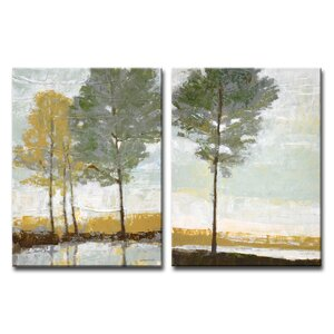 Lakeside View I/II by Norman Wyatt, Jr. 2 Piece Painting Print on Wrapped Canvas Set by Ready2hangart